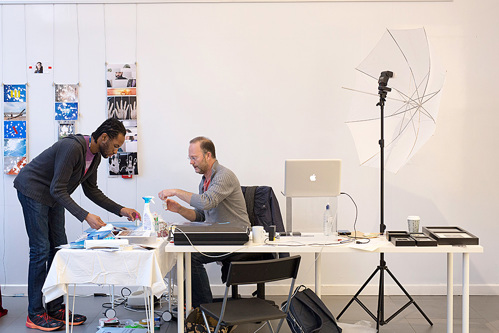 Mark Tamer working during his residency at the Shape Gallery