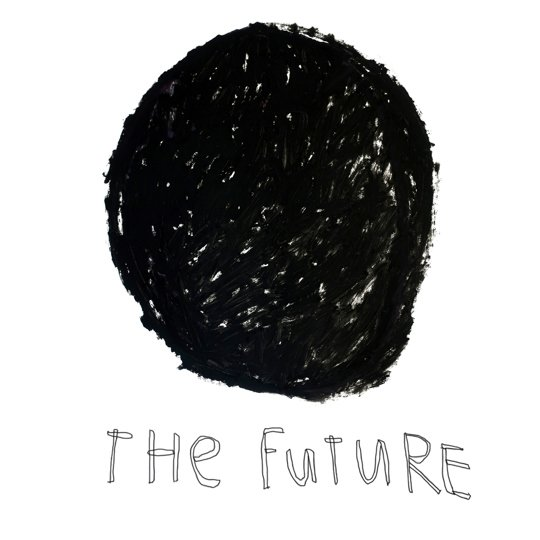 A black circle which appears to be roughly drawn from thick oil pastel marks sits in the centre of this digital print. Underneath the circle handwritten text reads; 'The future'