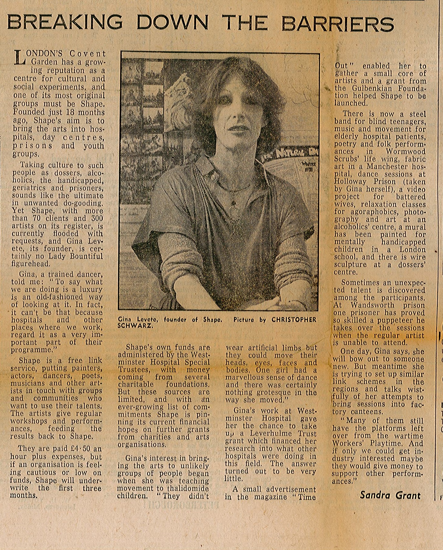 cutting from the daily telegraph, 8 June 1978, featuring Shapes founder, Gina Levete