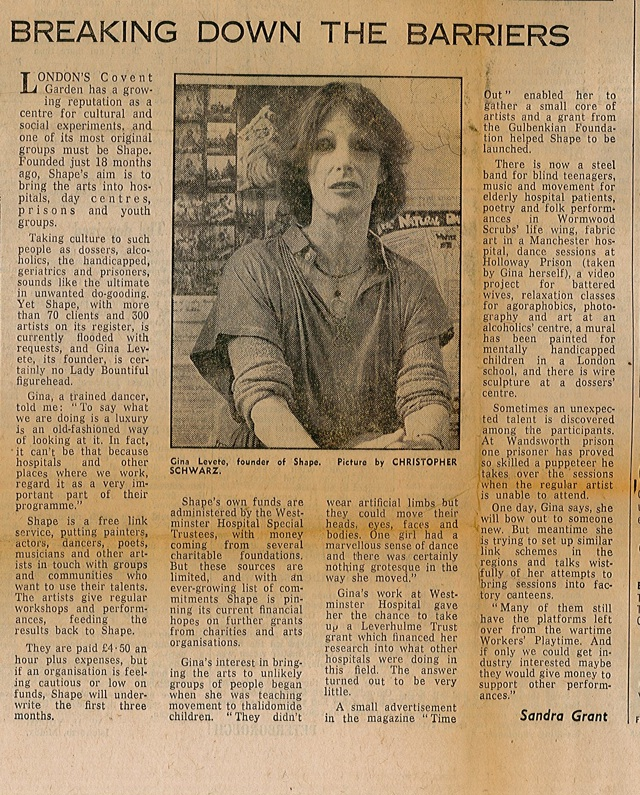cutting from the daily telegraph, 8 June 1978, featuring Shape