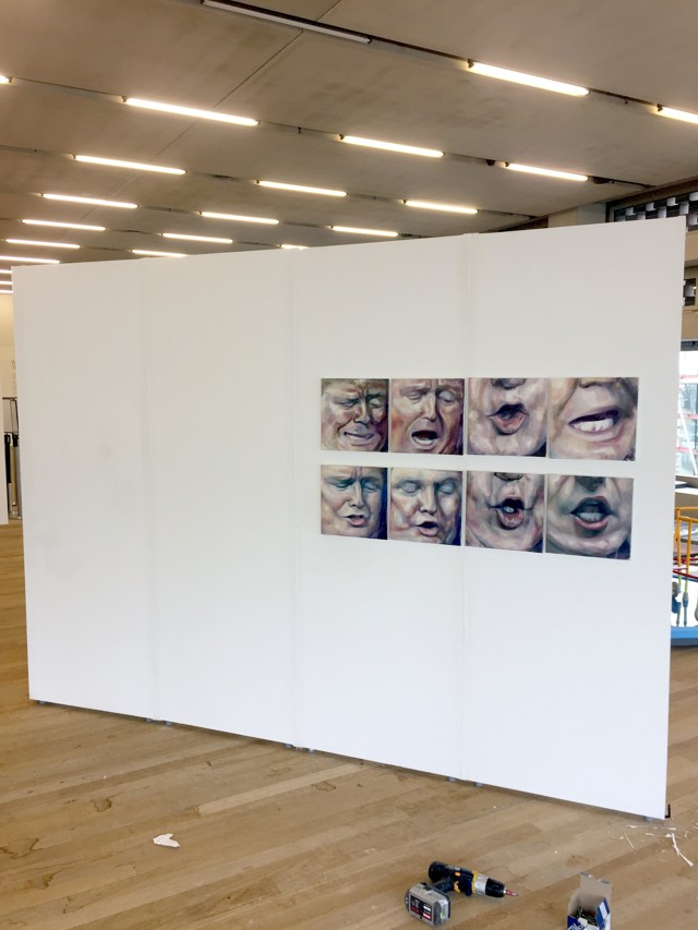 white walls with shortlist artworks being installed at Tate Exchange