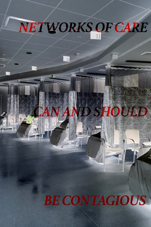 A photograph of a hospital ward; with white tiled ceiling, linoleum flooring and row of 5 uniform beds divided by screens.  The image is displayed as a negative so the white shades appear in grey and darker tones glow white. Text is overlaid on the i