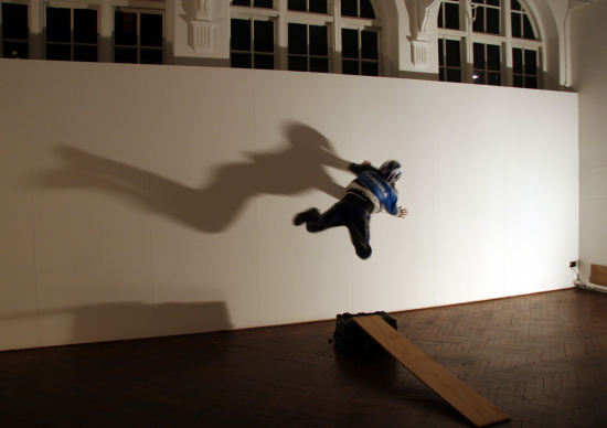 Artist Leaps On To The Gallery Wall, 2008. Aaron Williamson