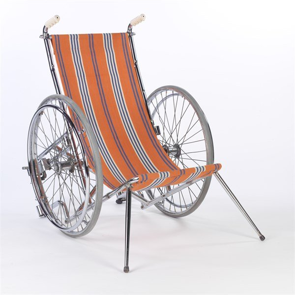 Strangers Carly Jaynes submission to the 2014 Shape Open, which is a orange and white striped deckchair converted into a wheelchair