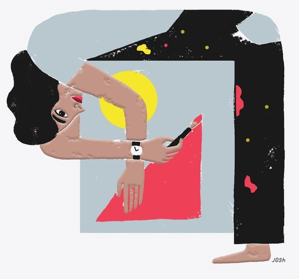The Emergence Logo shows a woman painting shapes while stood at a ninety degree angle.