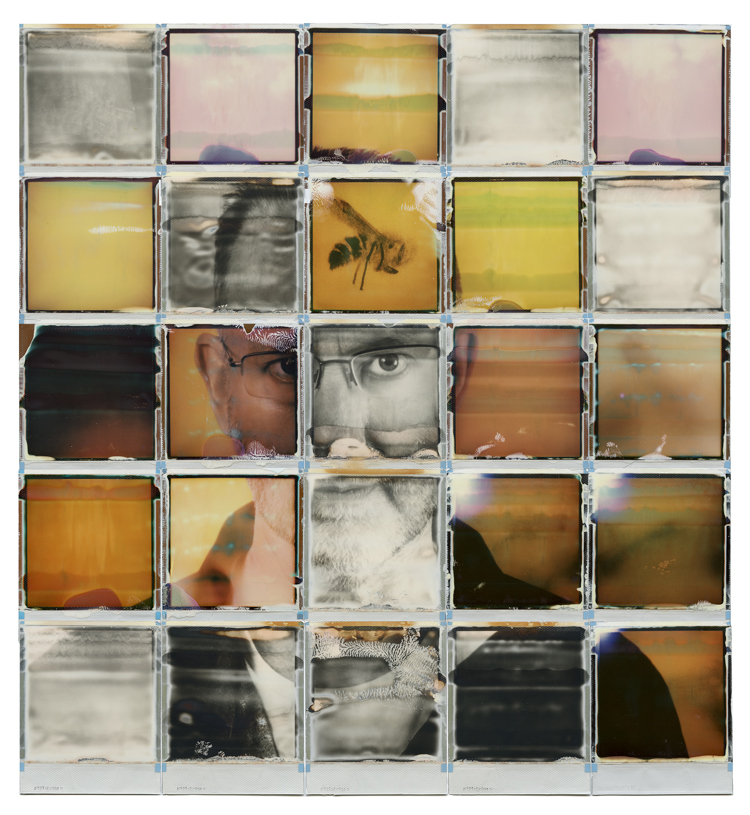 A photographic self-portrait compiled of 25 square photographs, making up the whole image.
