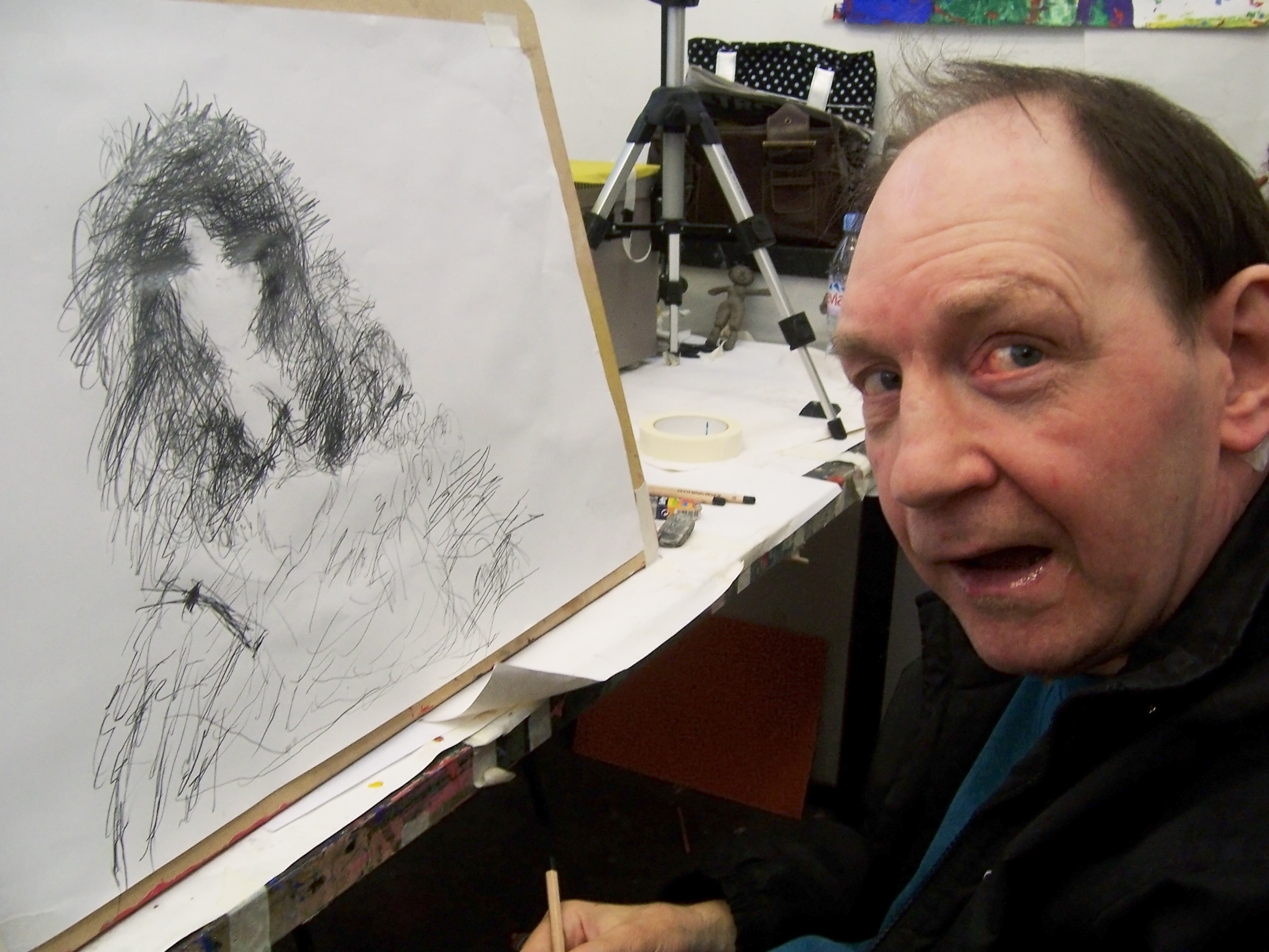 Nigel Kingsbury drawing in studio.