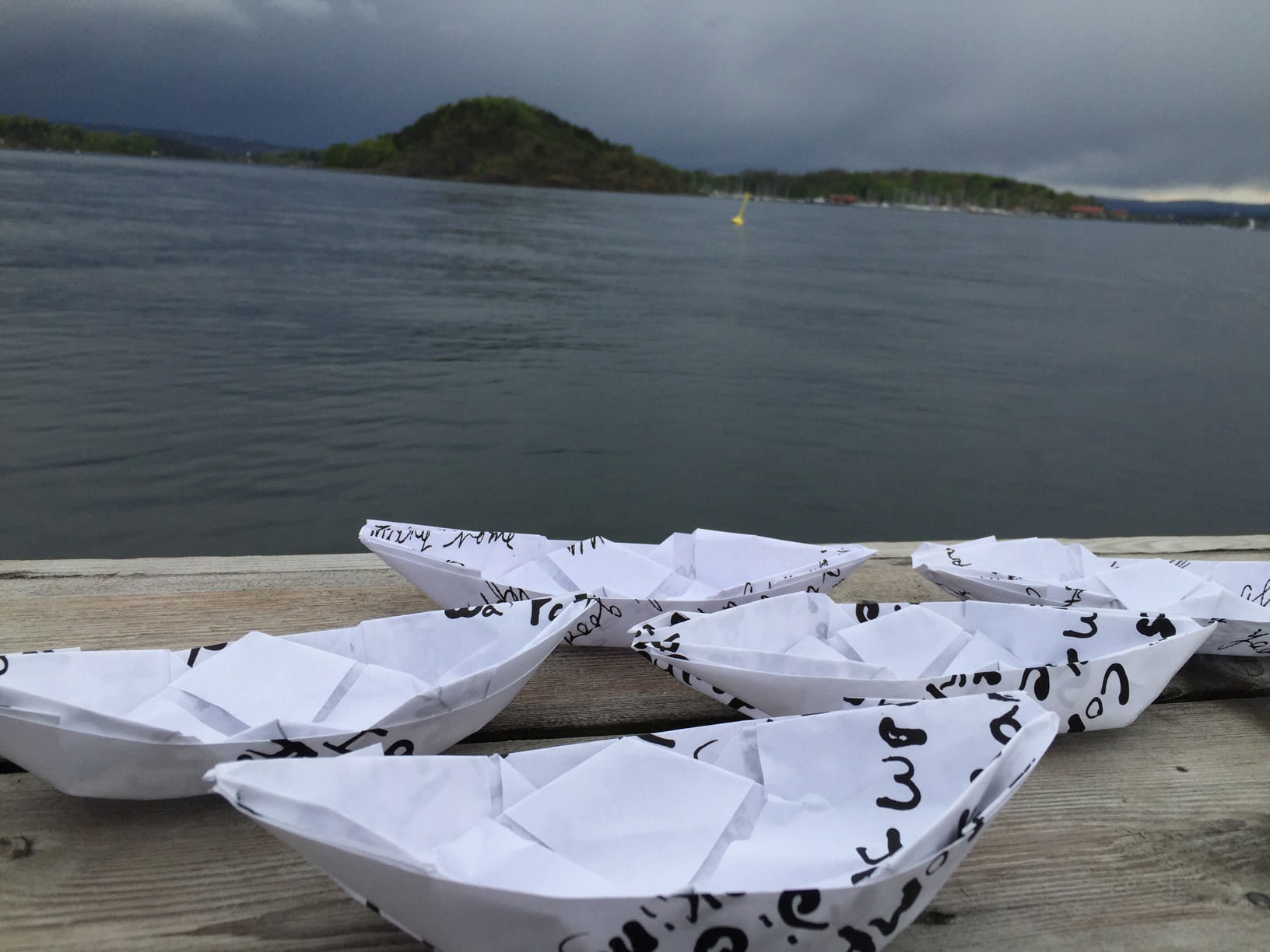 Four small origami boats - part of Letty