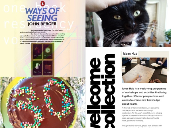 A collage of photos from Lauren. One of her black and white cat, one of her 30th birthday chocolate cake. One is a poster advertising the Ways of Seeing book residency. The final is a flyer for Wellcome