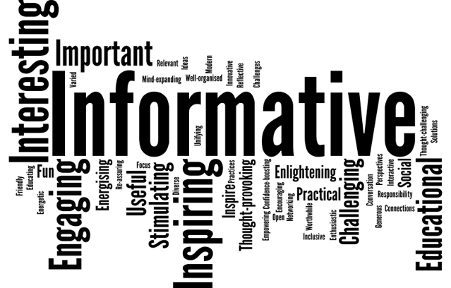 word cloud image with prominent words showing, such as informative, interesting, inspiring, educational, engaging