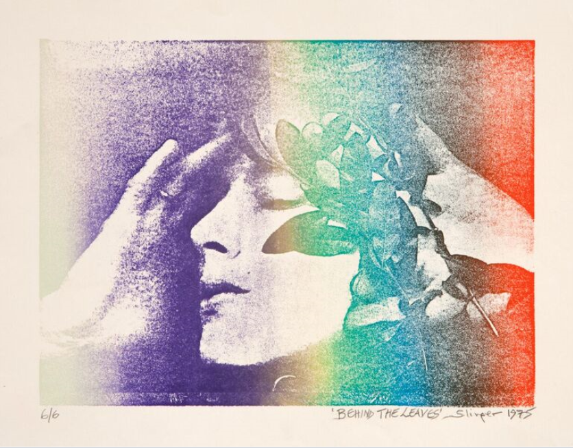 A print of hazy, thick horizontal blocks of colour with a woman