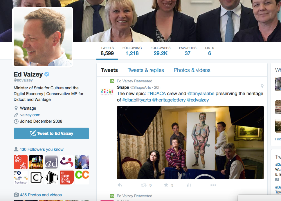 Screenshot of Ed Vaizey retweeting the NDACA crew photo.
