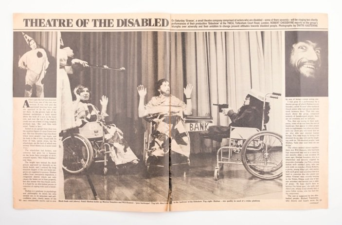 Image shows an old newspaper spread bearing the headline theatre of the disabled