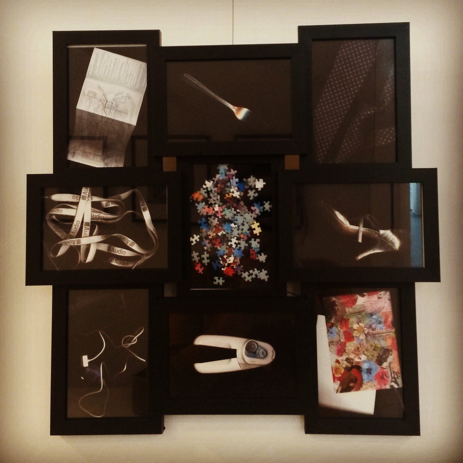 image of 9 photos of scanned objects framed in one frame