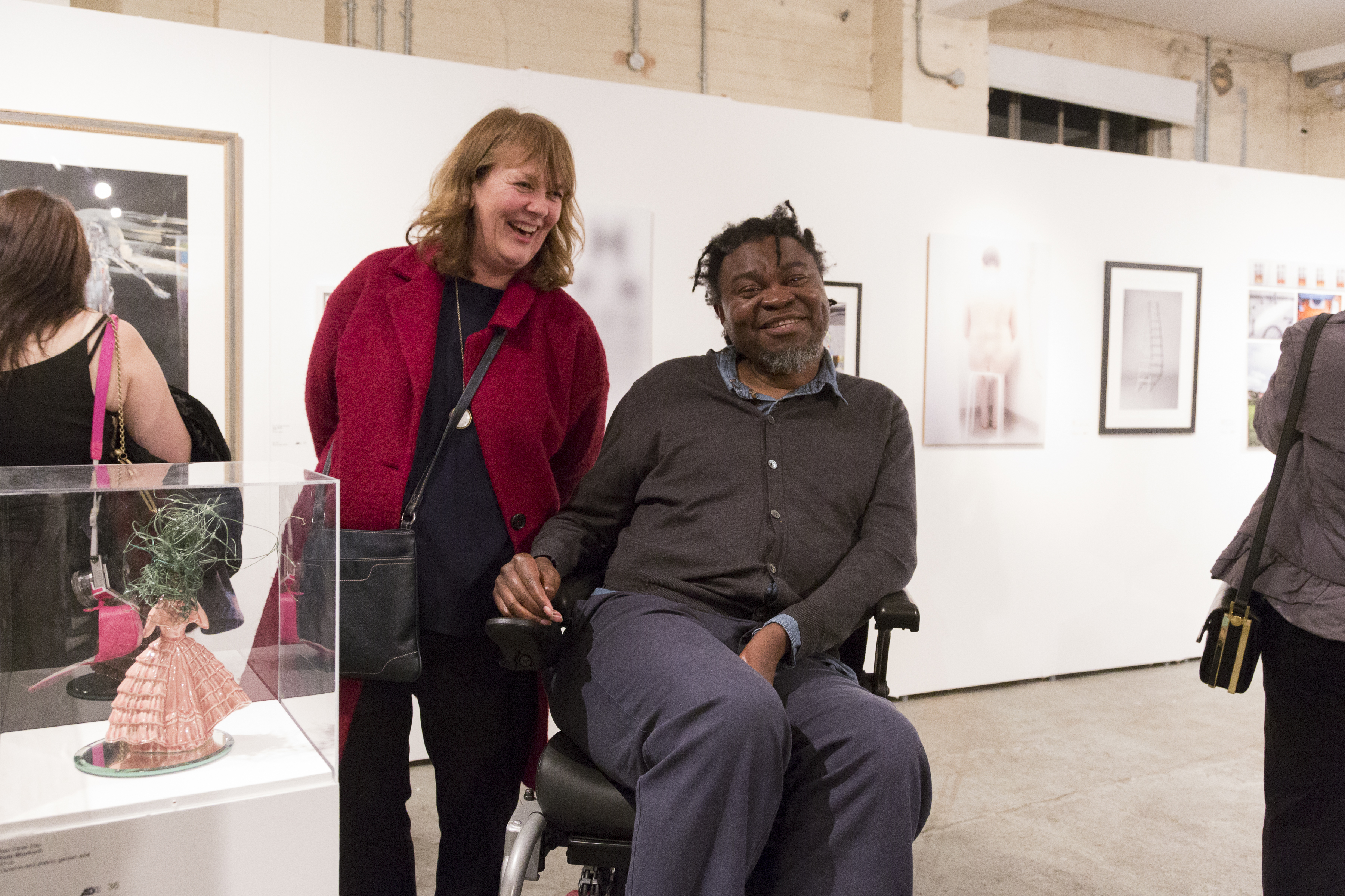 Kate Murdoch and Yinka Shonibare MBE pose beside Kates sculpture.