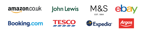 Eight company logos in two rows of four - Amazon, John Lewis, M&S, ebay, booking.com, Tesco,  Expedia and Argos