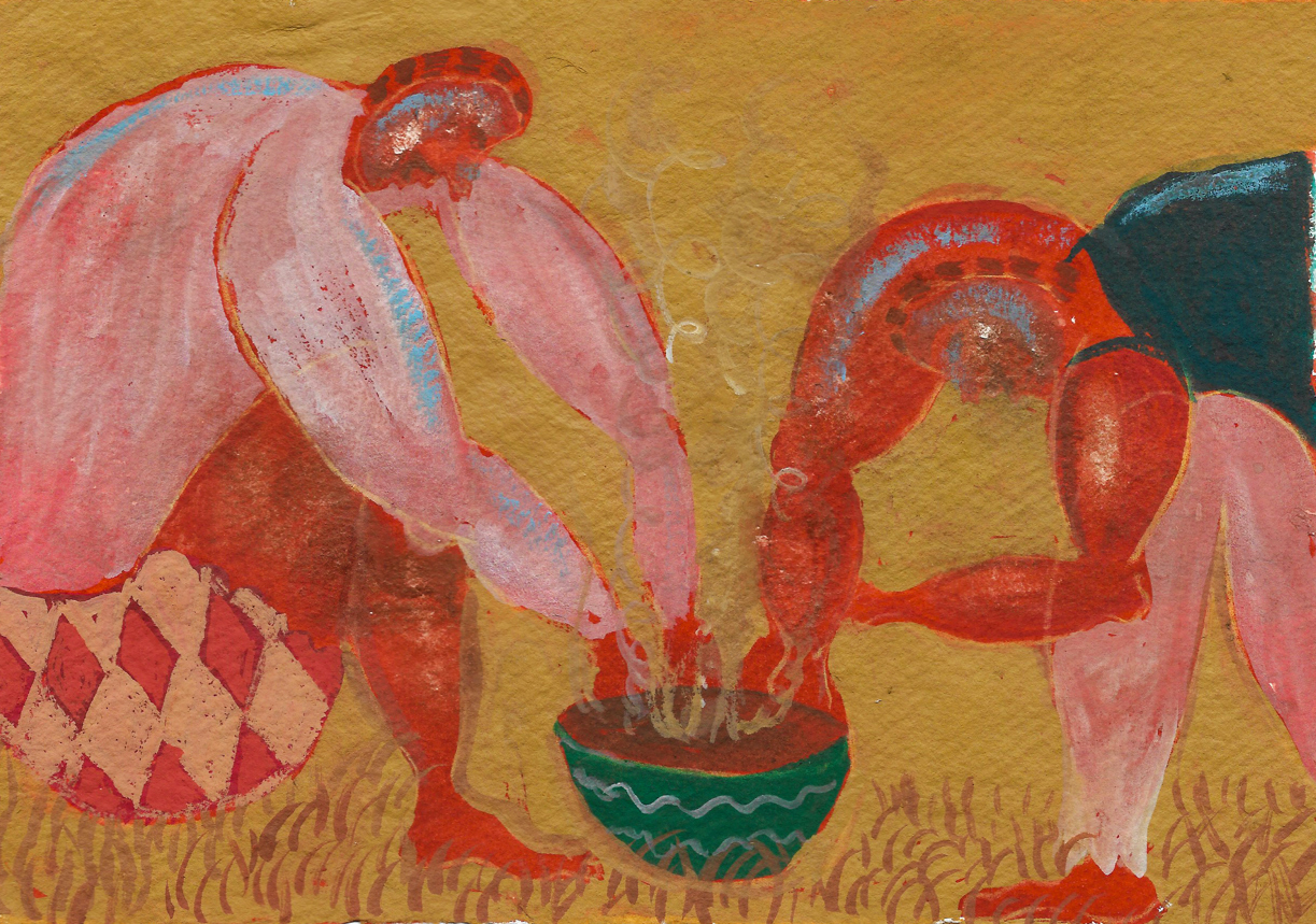 In this painting, two figures bend over a steaming bowl, suggesting a collaborative to cooking food, and perhaps also eating it. Set against a cloudy mustard wash, their deep red skin tones and salmon coloured loose clothing suggests a vibrancy and warmth that helps communicates a mood of easeful living and the enjoyment inherent in sharing simple daily pleasures.