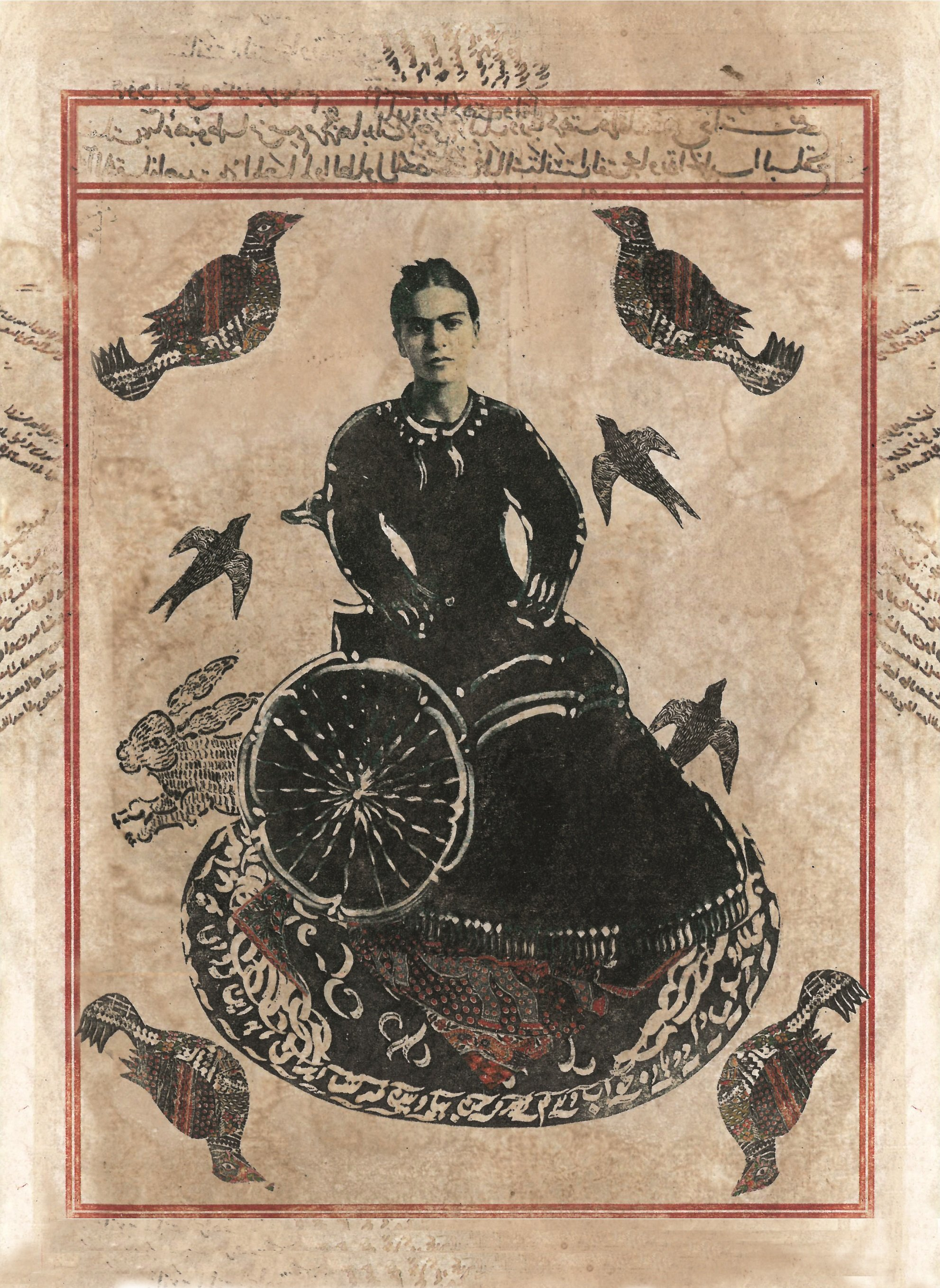 Black ink print of Frida Kahlo on paper dyed a mottled light brown, with red lines framing the image, black calligraphy in Arabic, and other abstract black and red bird images