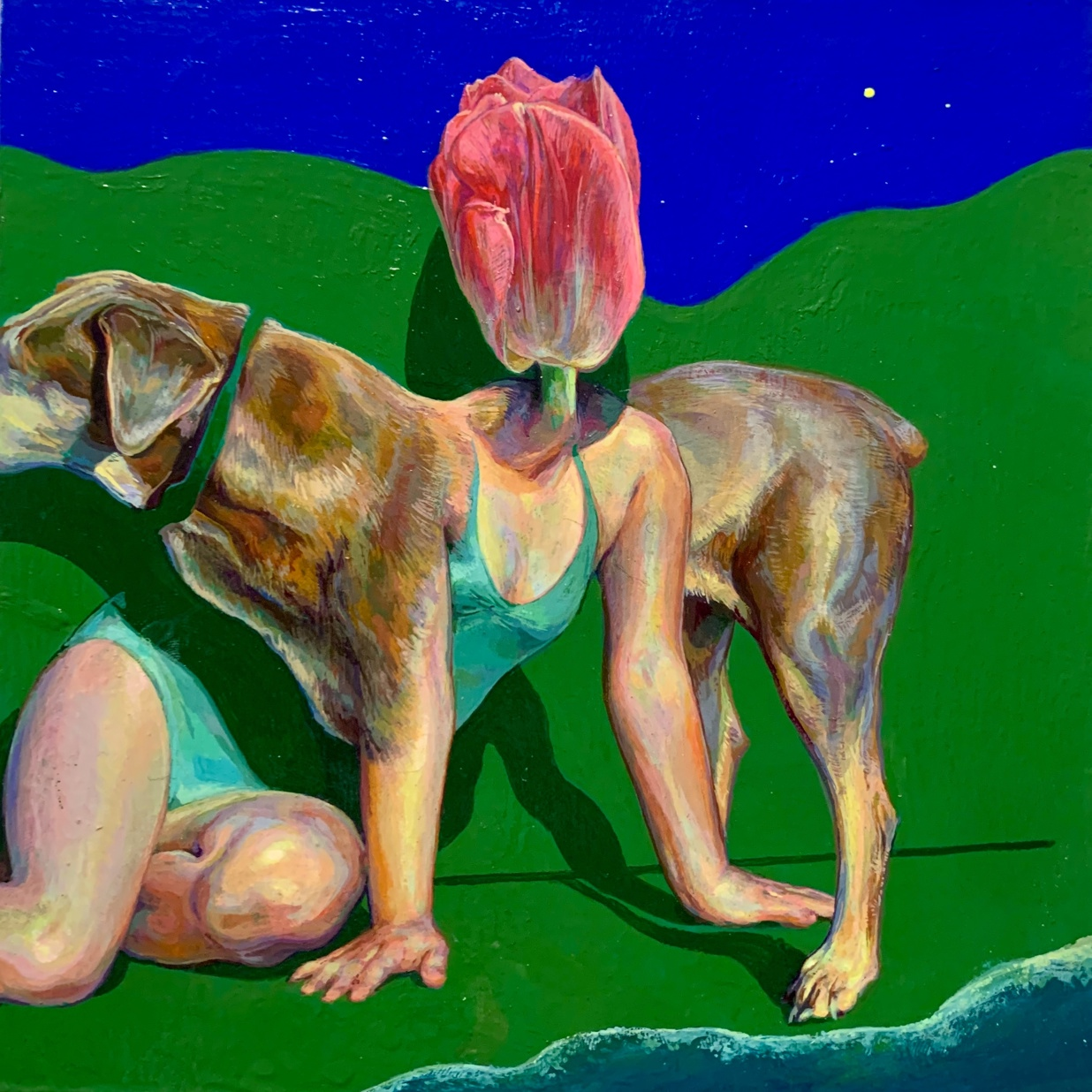This surrealist composition presents a fantasy figure made from the merging forms of a dog, woman, and tulip. It is painted against a plain backdrop of green and blue, which is suggestive of a bright sky and a lush mountain range. In the bottom right
