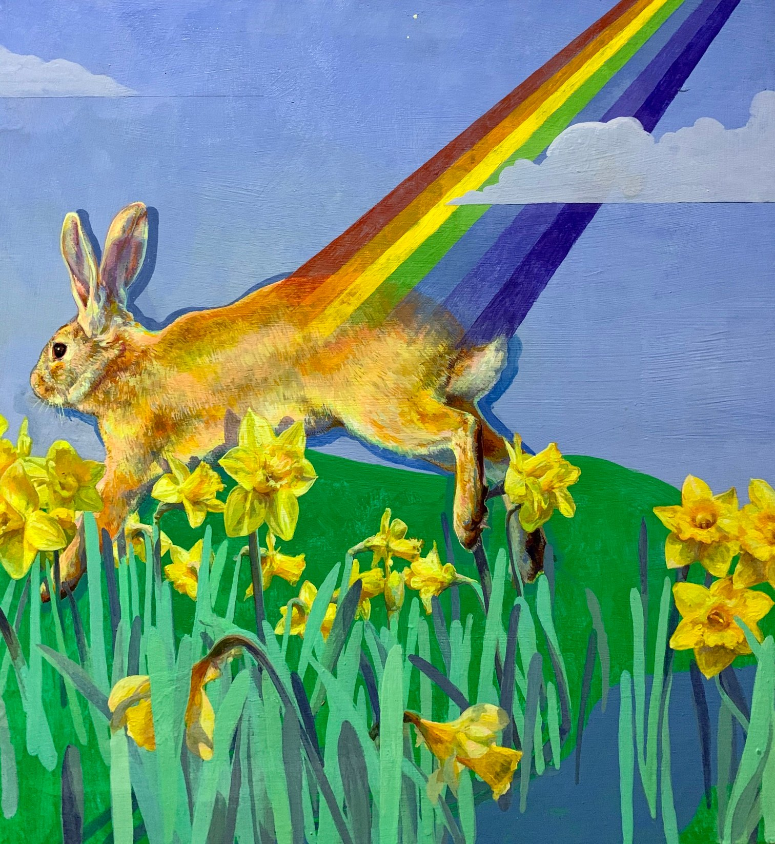 Across a field of daffodils, against a bright blue sky, a hare bounds.   From its haunches a rainbow of refracted light juts up and out towards the top right corner of the painting.