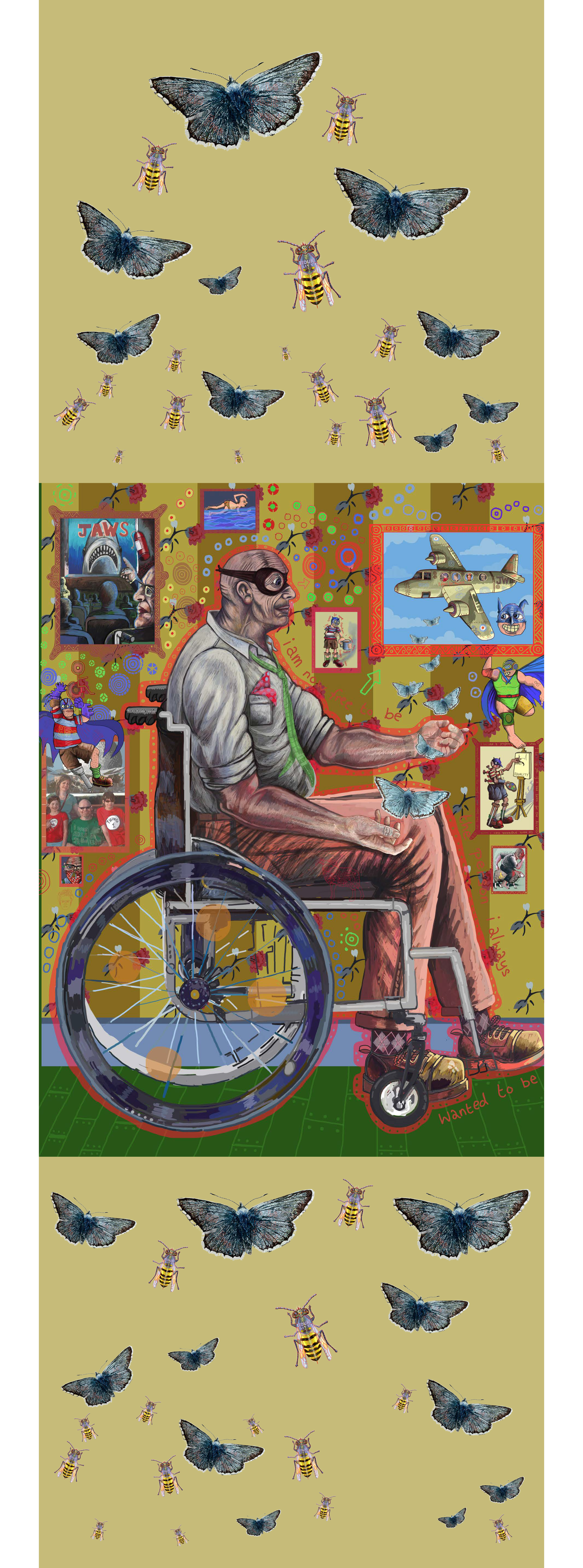 1995 DDA commemorative banner, Jason Wilsher-Mills. Features cartoonish and dreamlike emblems and memorabilia floating around a central figure who sits in a wheelchair, wearing a mask