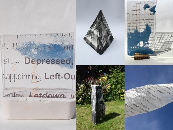 Five images in a collage. Three show progress of the same work: a sculpture with