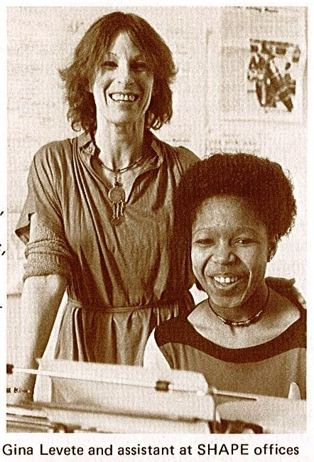 Old-looking sepia image of a white women and a black woman, both smiling and wearing 1970s clothing