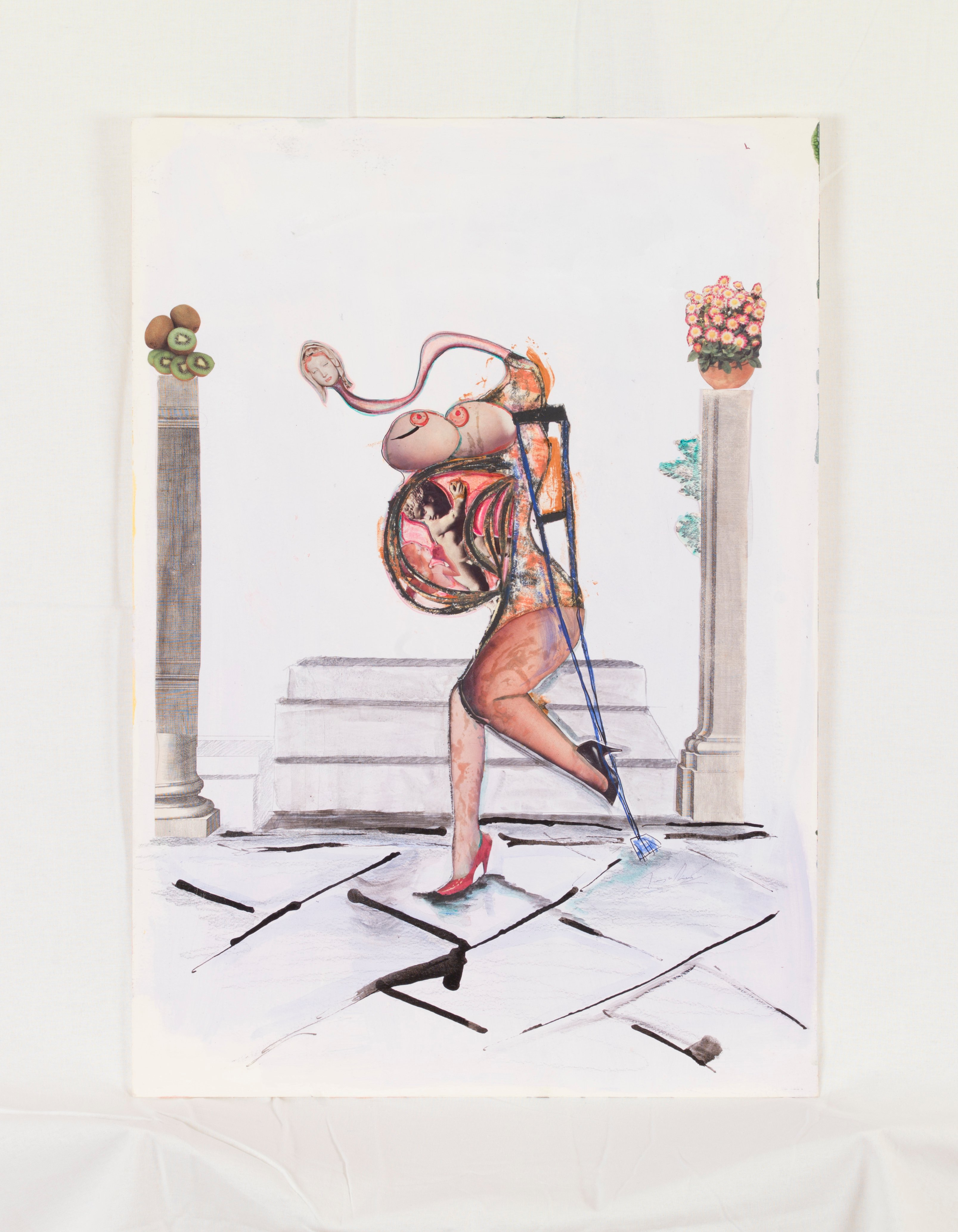 Abstract figurative line painting of a naked pregnant woman with a crutch in a tiled room between two columns.