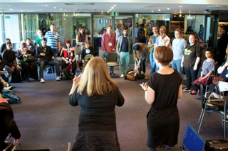 graeae theatre lead a workshop at Shapes Inspiring Futures Open Day
