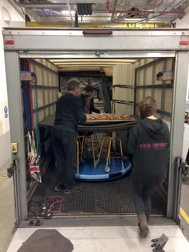 removal van being loaded with artworks from tate exchange, with Anna Berry