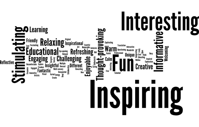 word cloud image featuring prominent words such as inspiring, interesting, informative, thought-provoking, stimulating