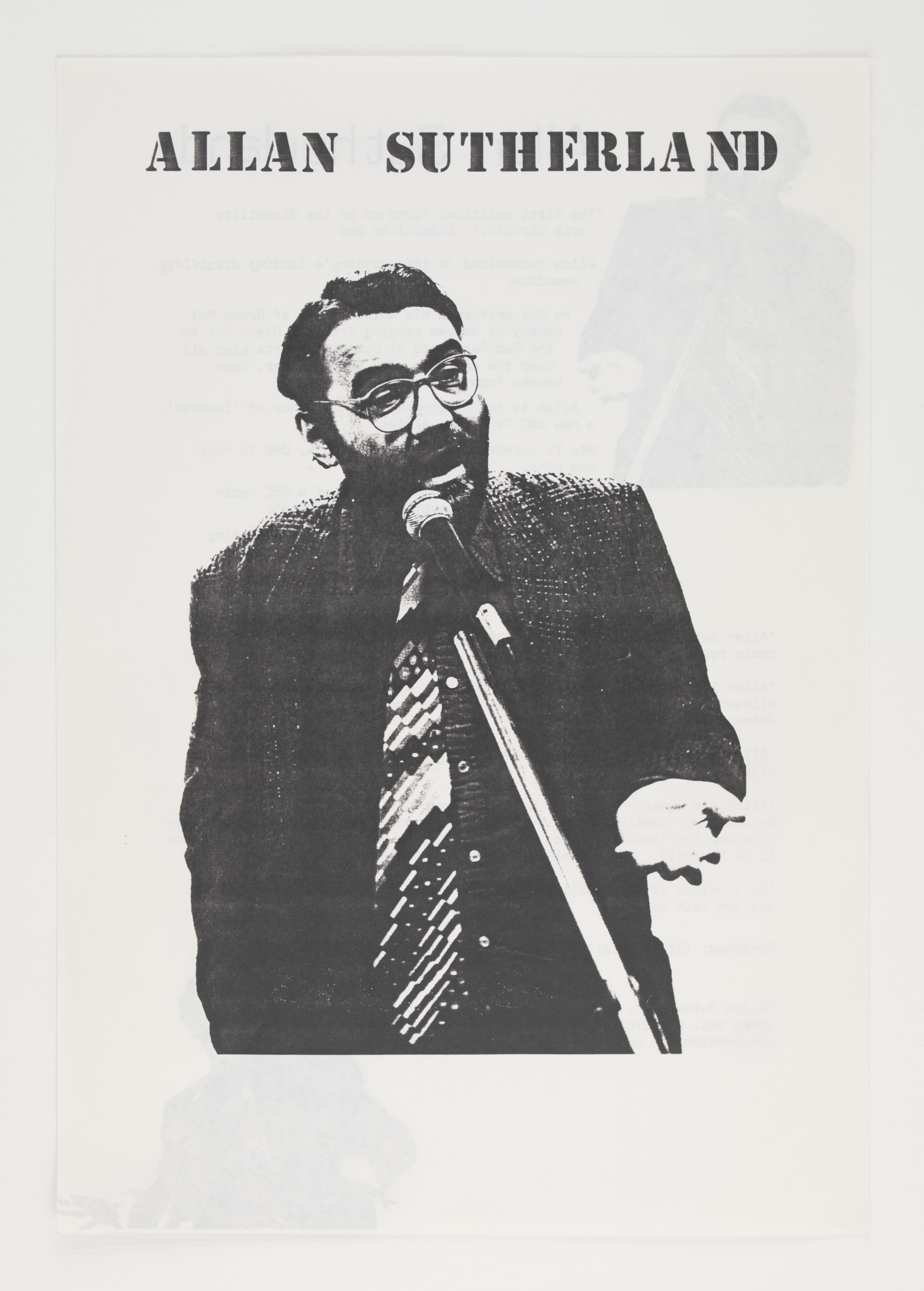 Black and white photo of a man laughing into a microphone against a white background. It looks like a poster for stand-up comedy.