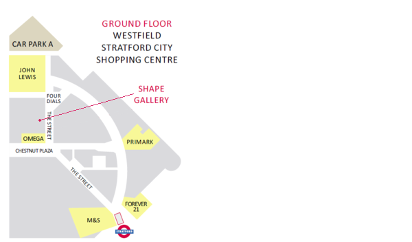 Map of Westfield Stratford, showing position of Shape Gallery