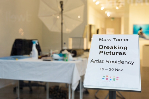 Mark Tamer residency sign in the Shape Gallery window