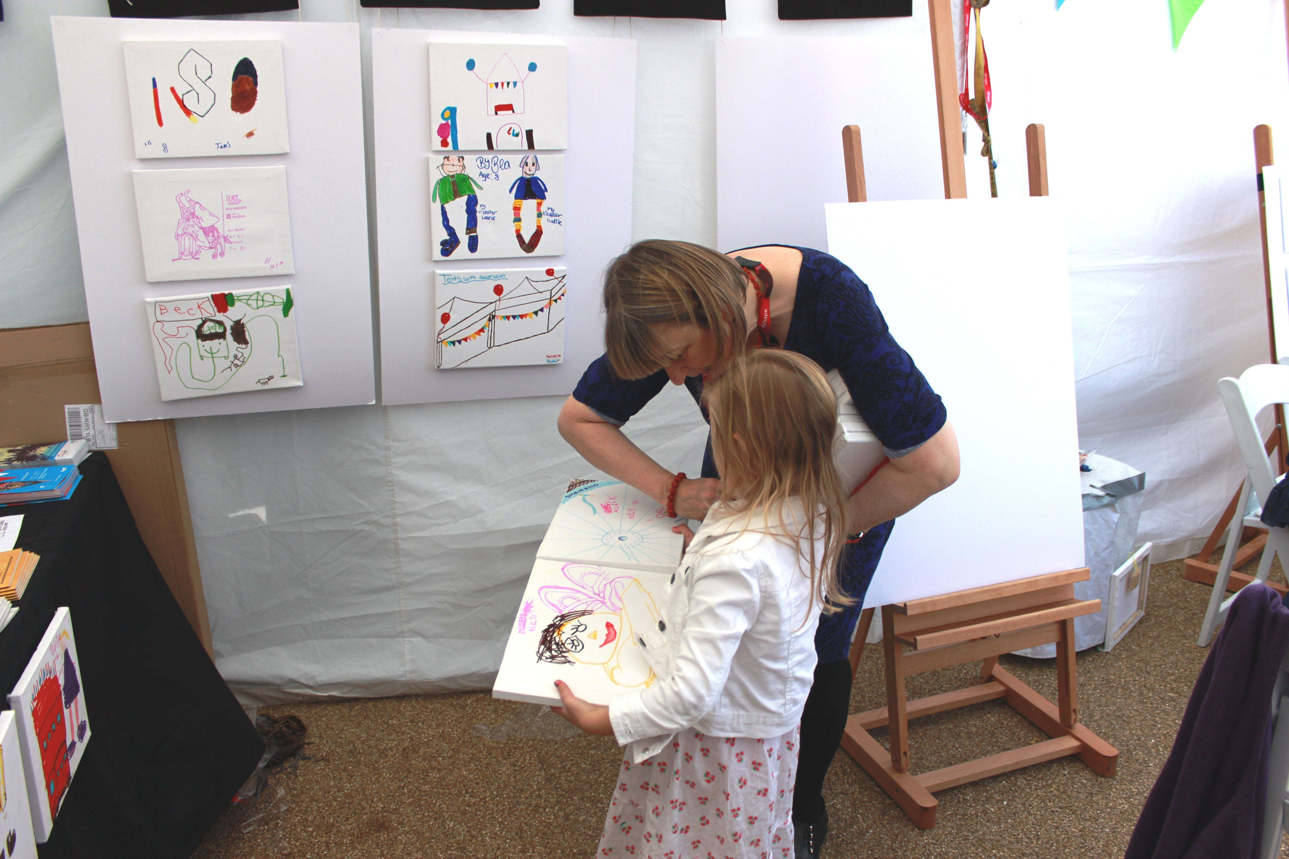 Sally Booth and young artist at Liberty Festival 2014