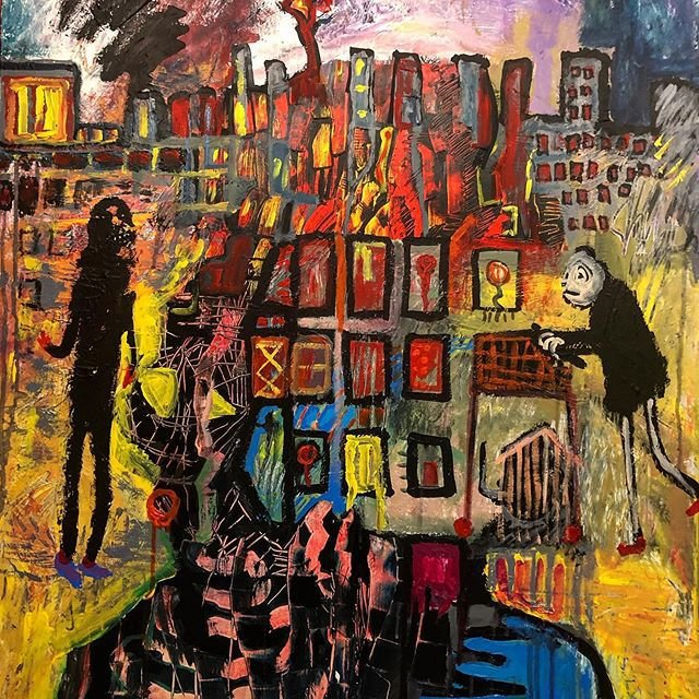 On the horizon of this painting is a roughly sketched skyline of grey tower blocks, with glowing red and yellow windows. Smoke drifts darkly in the background over what may be pockets of fire. Beneath this we find two figures on either side of a grid