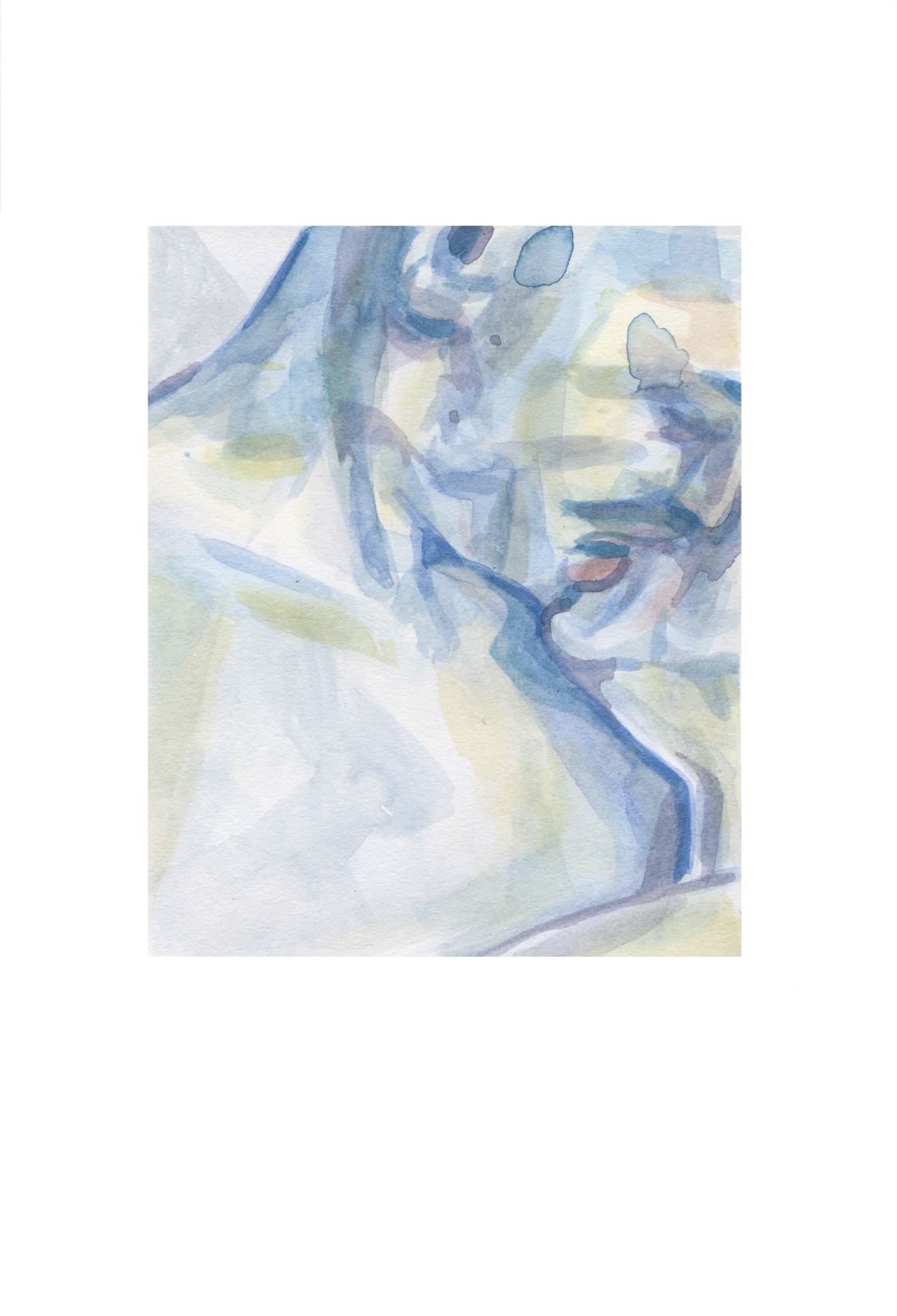 This watercolor depicts a figures head and shoulders in loose lines and thin washes of blue and light green. The composition cuts the figure off at the top of their ear and just below the shoulder. They may be sleeping; with eyes closed, mouth slight