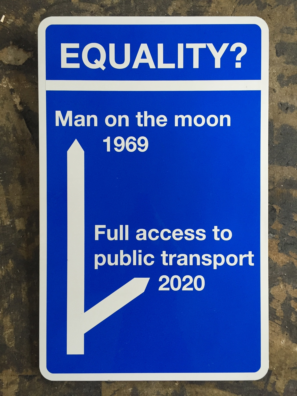 White and blue sign with the title Equality  with a question mark