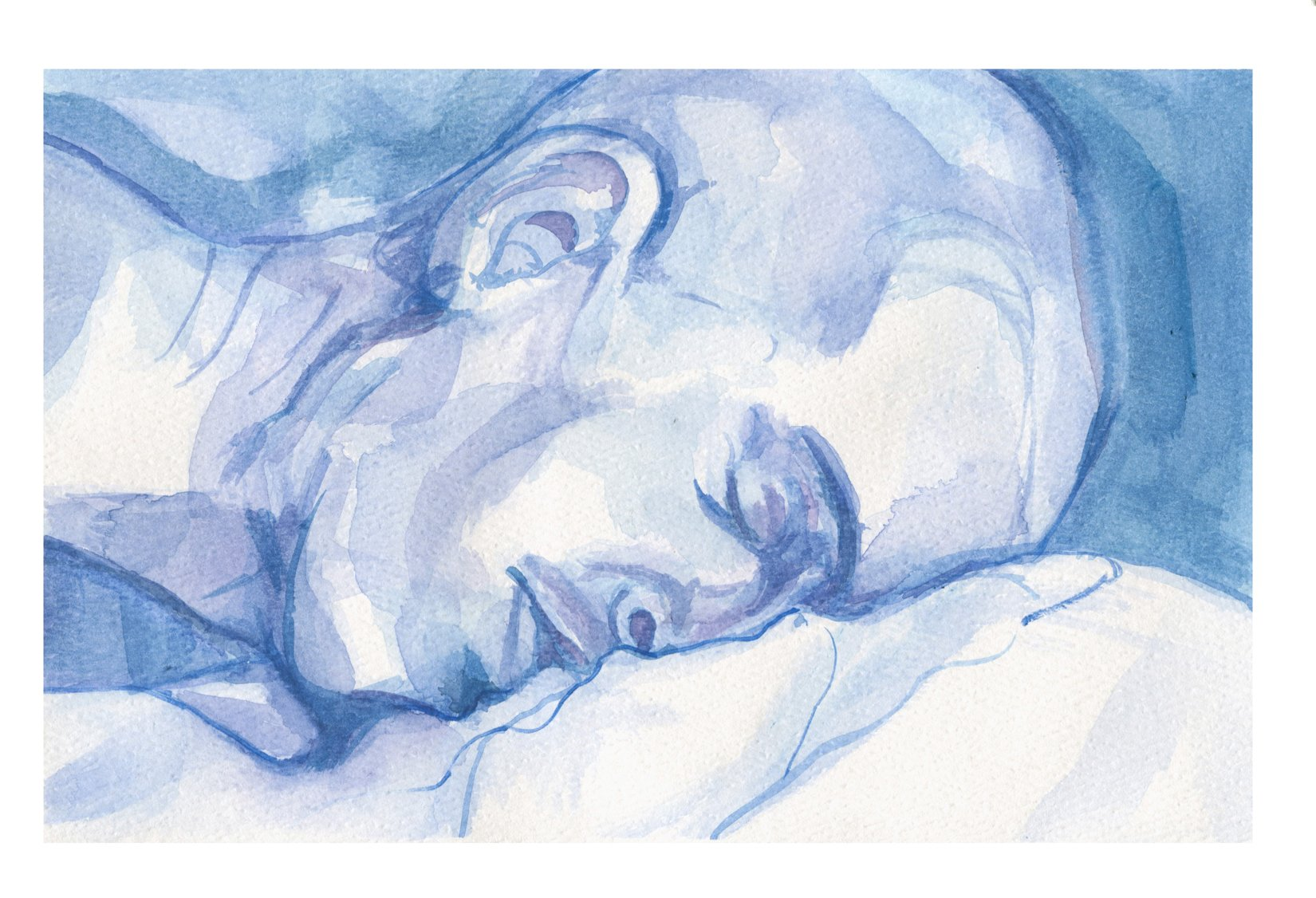 This watercolour in shades of blue portrays a mans head, with eyes closed. He is horizontal, face down and fills the composition from the bottom of his neck, to the tip of his head. There is an ambiguous form beneath him. A few long and curving lines