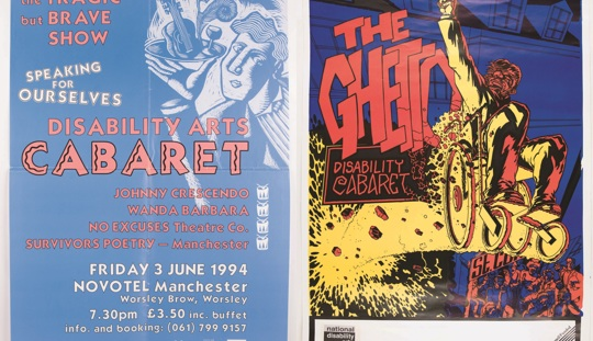 Two leaflets side by side, in bright primary colours, advertising disability arts cabaret events
