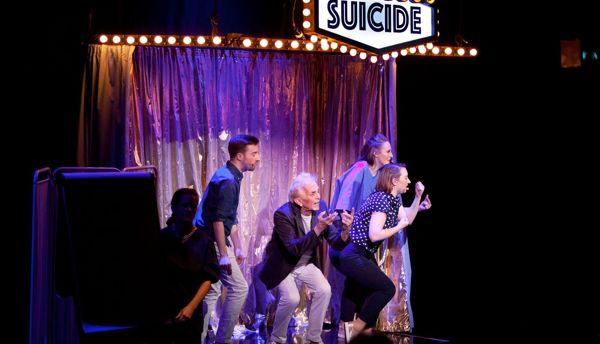 Actors on stage at the Assisted Suicide musical