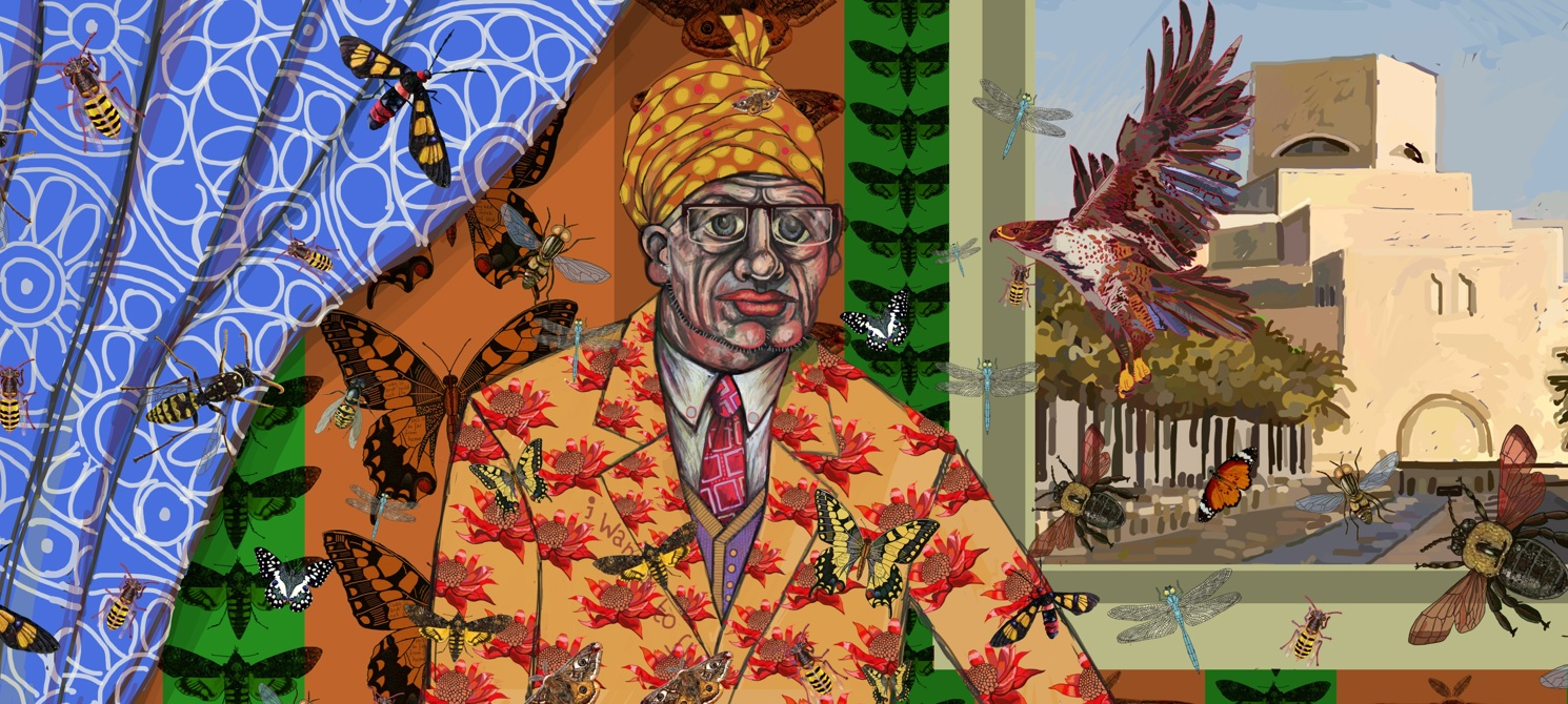 A drawing of a man wearing a floral inspired outfit. You can also see butterflies floating around him and an ancient building in the background.