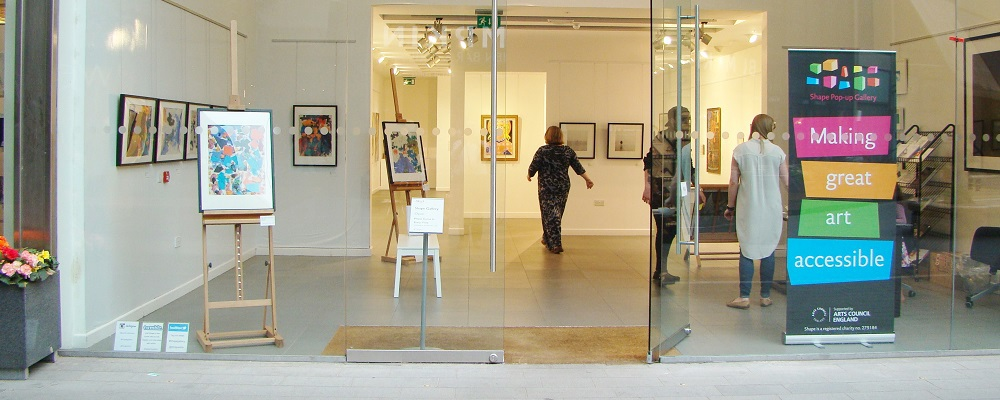 Image of Queen Elizabeth II students work on display in the Shape Gallery.