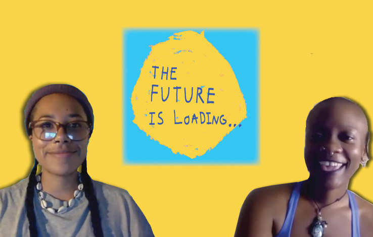 Yellow background with the exhibition logo central. the logo is a blue square with a yellow circle in the centre, atop of which sits blue text reading, The Future is Loading. On either side of the logo are Rudy and Tobi. Rudy has two long braids and