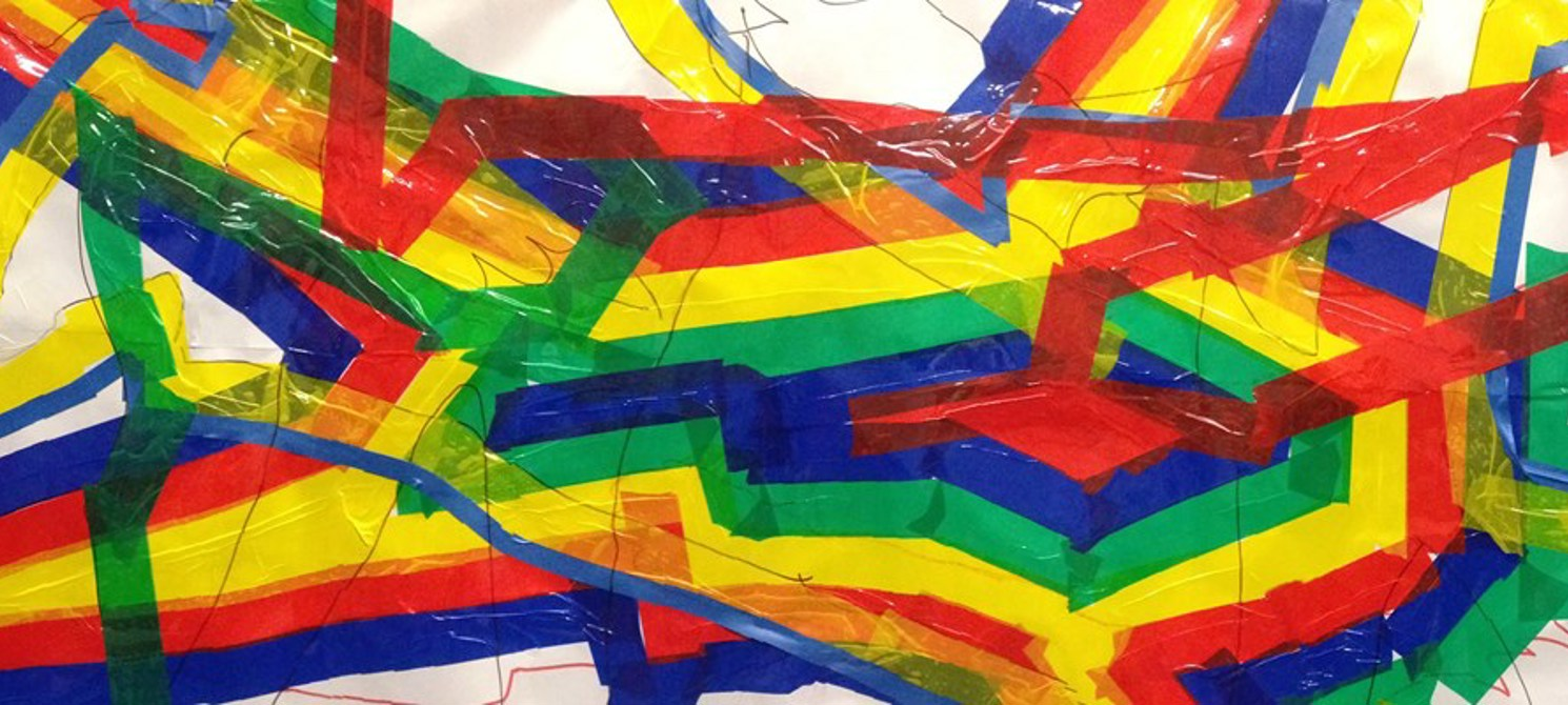 A colourful paper installation made by youngsters during the workshop