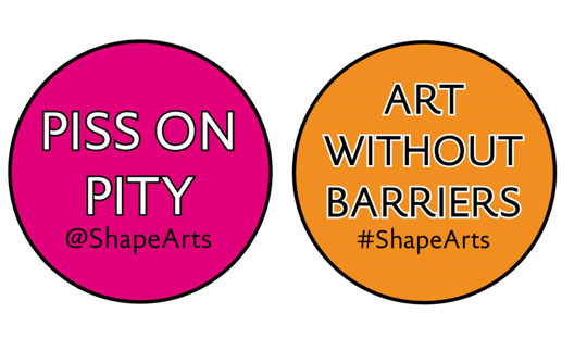 Images of two stickers, one pink and reading Piss on Pity, the other orange and reading Art Without Barriers
