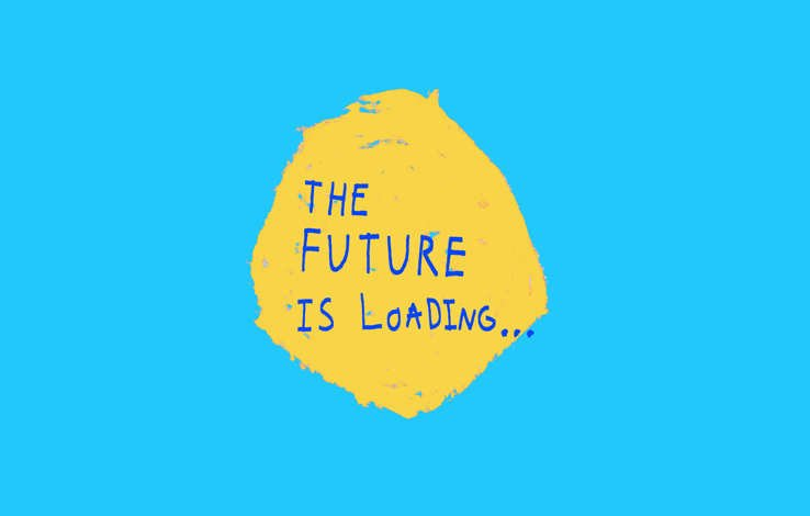 Blue background with a central yellow circle. Blue text in the circle reads: The Future is Loading