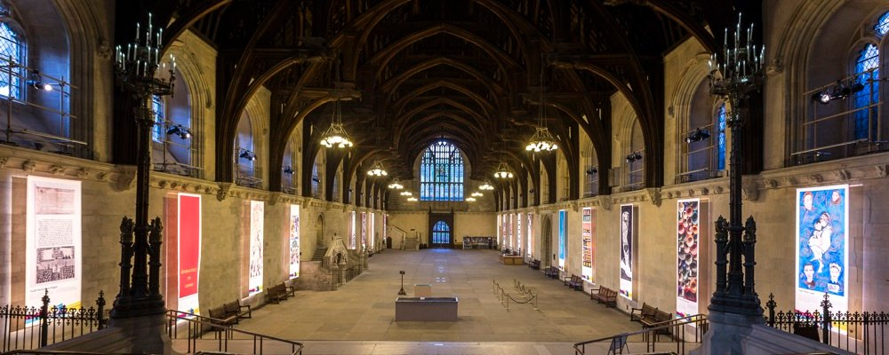 Westminster hall with banner exhibition
