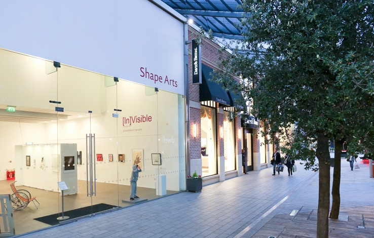 External shot of Shape Gallery, during [In]Visible exhibition