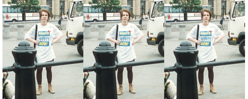 Agnes Fletcher on a protest for disabled people's civil rights.
